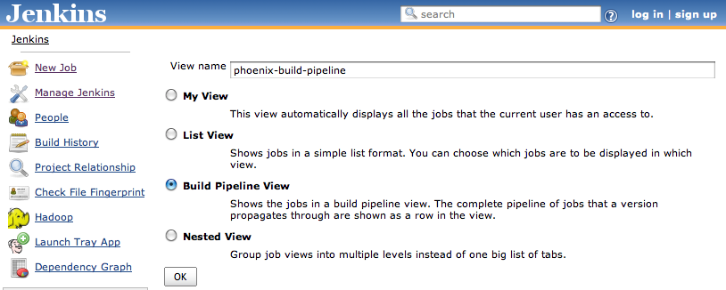 Creating a Build Pipeline view
